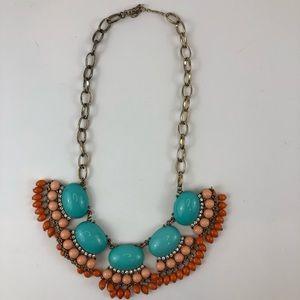 "Orange Turquoise Statement Piece Necklace 7.5"""